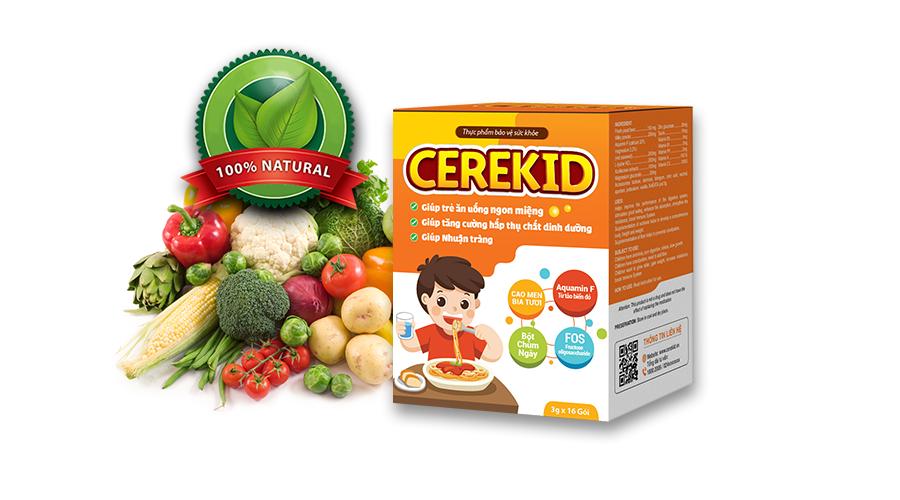 Cerekid - công thức đột phá 4 trong 1 giải quyết tận gốc tình trạng biếng ăn, táo bón ở trẻ.