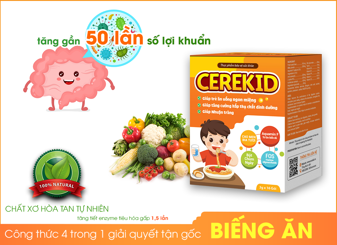 Cerekid - Công thức 4 trong 1 giải quyết tận gốc tình trạng biếng ăn ở trẻ.
